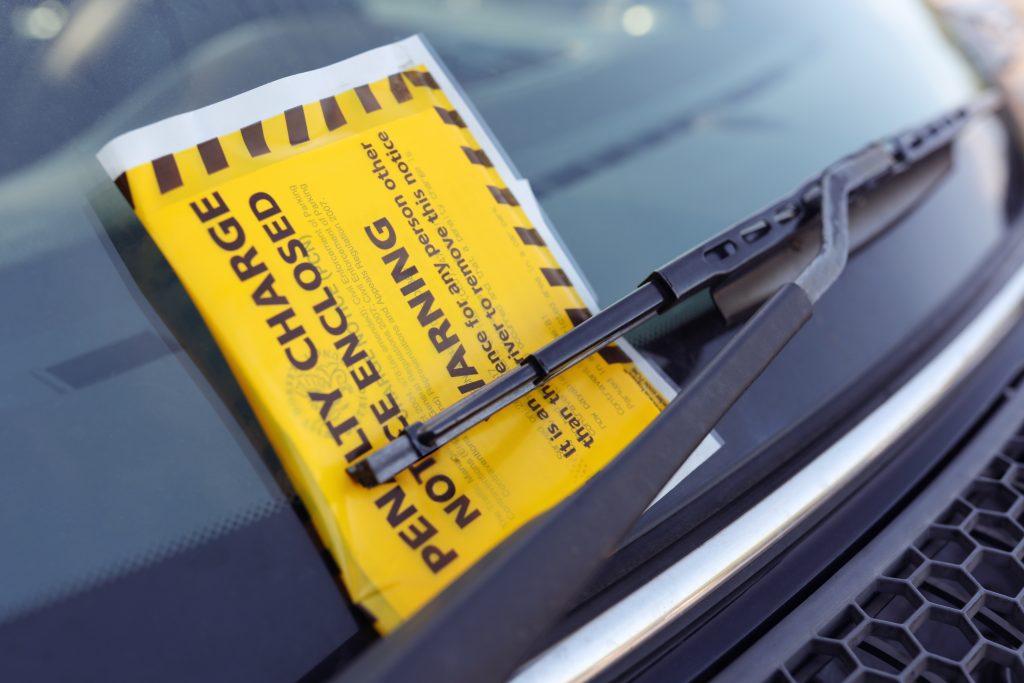 parking fine on car