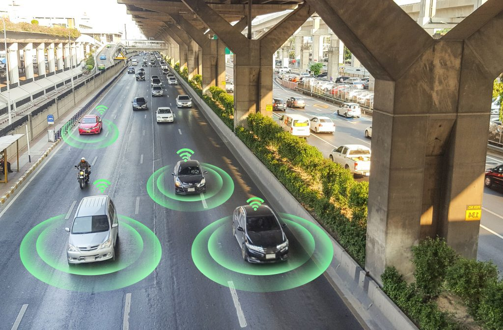 driverless cars on road