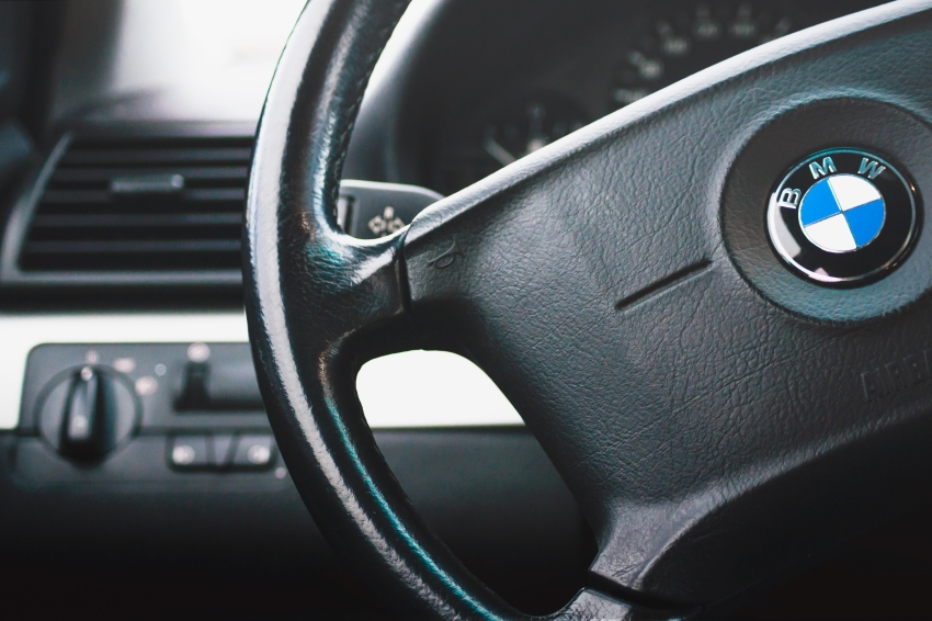 Close up of dashboard and steering wheel or BMW