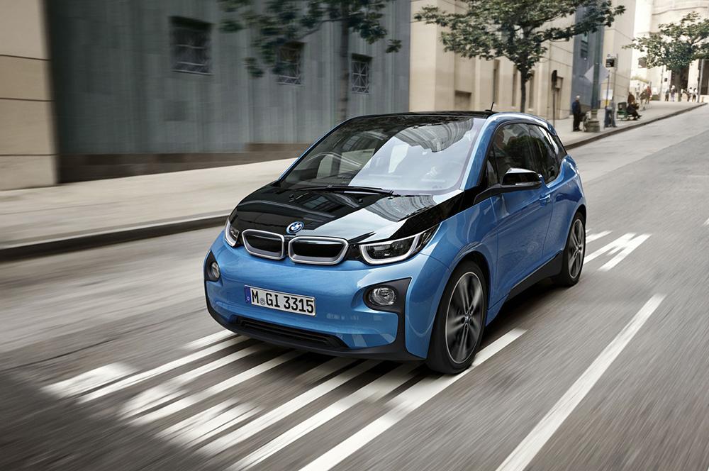 Blue BMW i3 EV