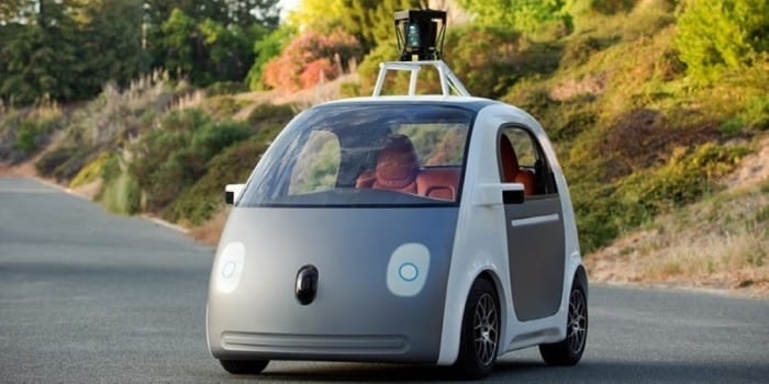 The google driverless car in the street