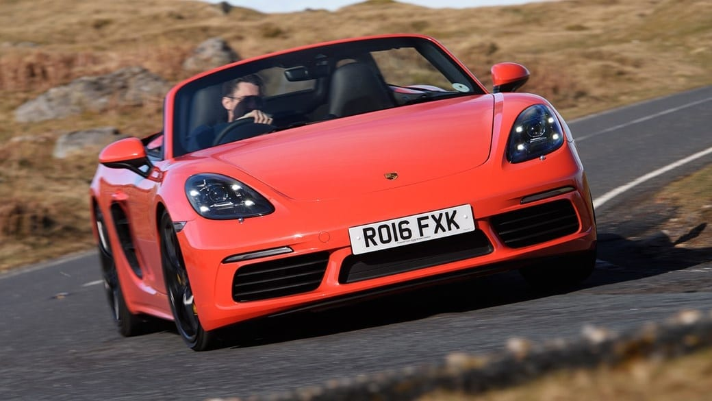Orange Red Porsche 718 Boxster