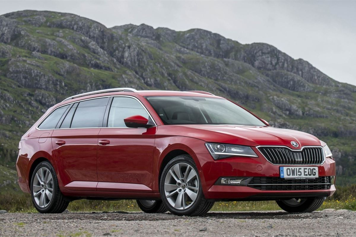 Red Skoda Superb Estate