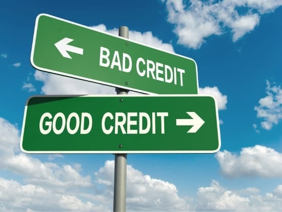 Bad credit and good credit signs