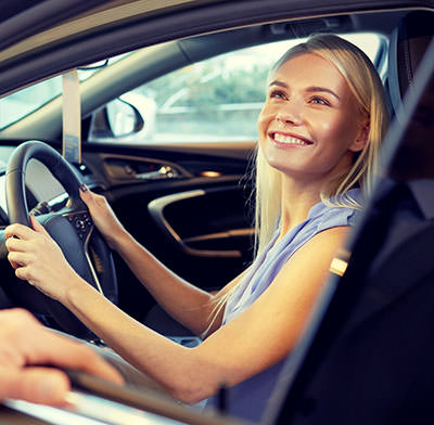 Blonde girl getting no credit car finance