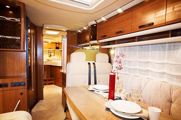 Inside a caravan