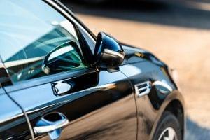 new car on car dealerships forecourt