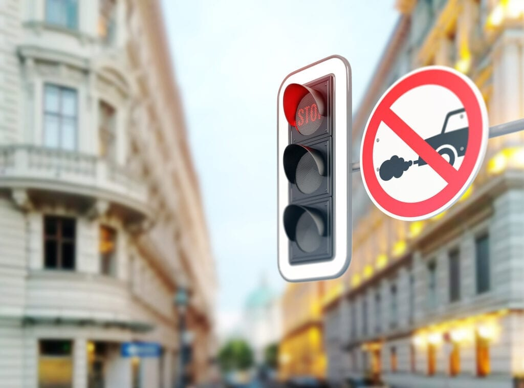 petrol and diesel ban sign in street