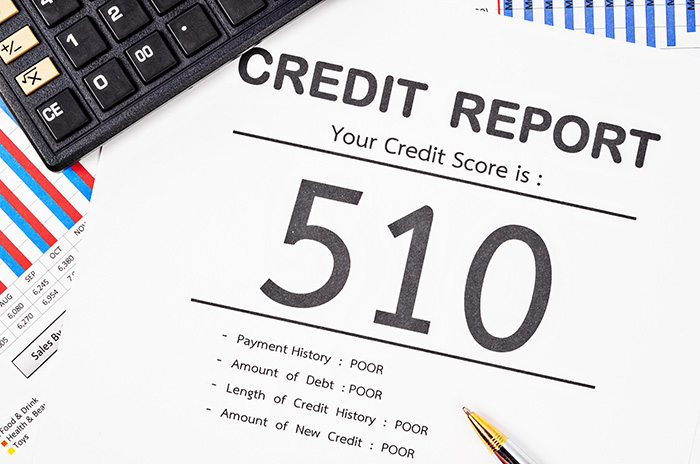 Credit report displaying poor credit score