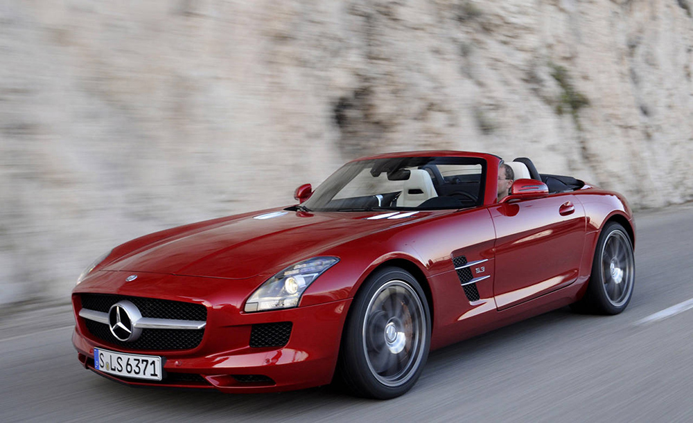 Red Mercedes Benz SLS AMG Roadster