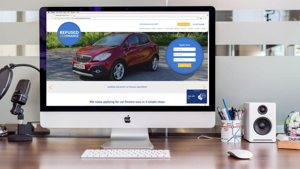 New Refused Car Finance Website on Mac Screen