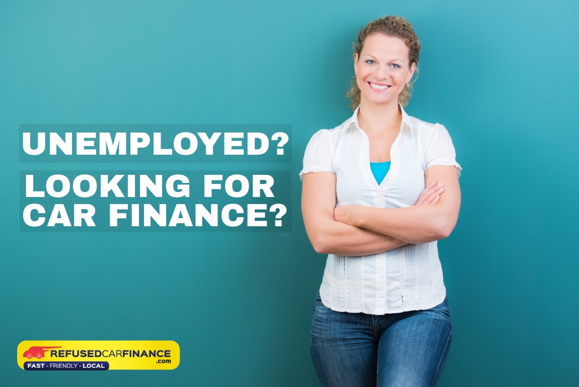 Smiling woman standing in front of a blue background is looking for unemployed car finance