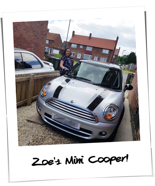 Zoe getting her Mini Car on finance